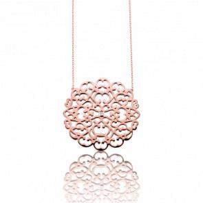 Collar Círculo encaje rosa&diamante
