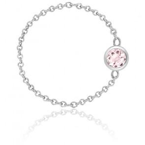 Anillo cadena oro blanco y  quarzo rosa 0,25 ct
