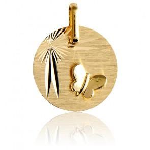 Medalla Mariposa Alas Desplegadas Oro Amarillo 18K
