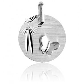 Medalla Mariposa Alas Desplegadas de Oro Blanco 18 quilates