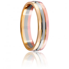 Alianza de boda tricolor de oro 18k 3,5mm Beaune