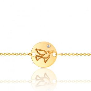 Pulsera oro amarillo 9k con paloma y diamante