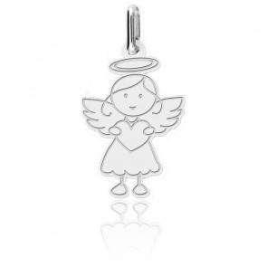 Colgante Pequeño Angel con Corazón  de Oro Blanco 18K