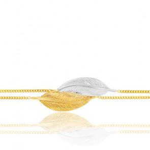 Pulsera de doble cadena pequeñas plumas 2 oros 9K