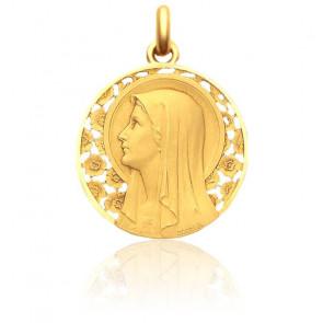 Medalla Virgen Rosal, 22 mm, Oro Amarillo 18K