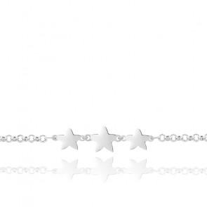 Pulsera de plata radiada 925 con estrellas