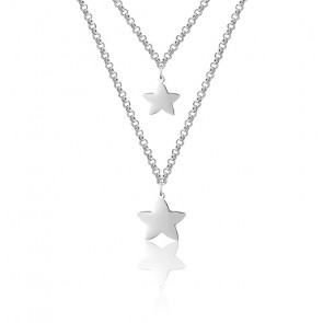 Collar Dos Filas Estrellas Plata Rodiada 925