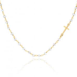 Collar cadena perlada Piedra de Luna chapado oro amarillo
