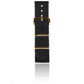 Correa Nato 20mm Negra, Longitud 245mm, Hebilla de PVD de oro amarillo