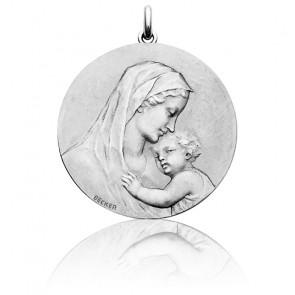 Medalla redonda Virgen con el niño Jesús, Oro Blanco