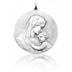 Medalla Plata Virgen Madona redonda