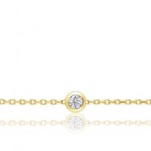 Pulsera Oro Amarillo y Diamante en Chatón