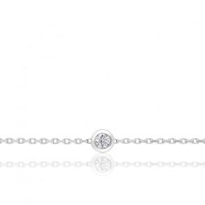 Pulsera Oro Blanco y Diamante en Chatón