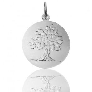 Medalla del Árbol de la Vida Follaje de primavera de plata