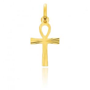 Cruz estriada Oro amarillo, 10mm x 16mm