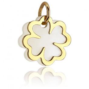 Colgante Trébol Blanco Nácar Oro Amarillo