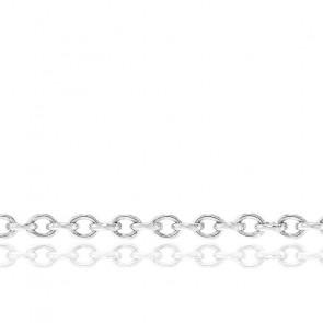 Cadena Forzada Redonda de 60 cm Oro Blanco