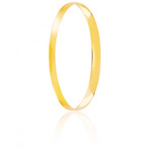 Pulsera media caña plana diámetro de 55 mm, maciza oro amarillo 18 quilates