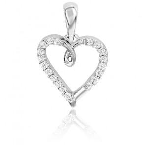 Colgante Corazón Calado Oro Blanco y Diamantes