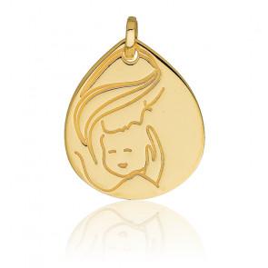 Medalla ovalada Virgen y Niño, oro amarillo de 18 quilates