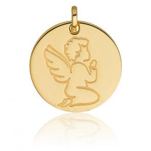 Medalla Redonda Ángel en Oración, Oro Amarillo 18K