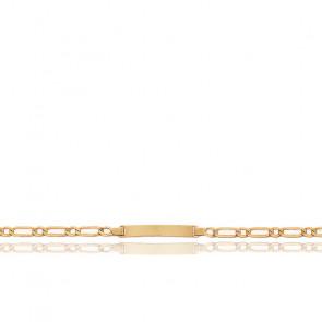 Placa de pulsera infantil rectangular, oro amarillo de 18 quilates