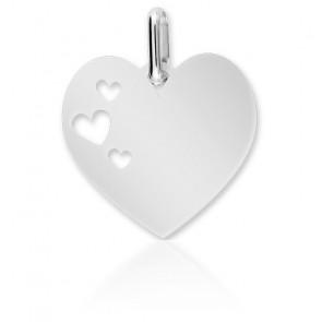 Medalla de Oro Blanco Corazón Calado 18K