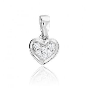 Colgante Corazón Labréole Oro Blanco 18K & Diamantes