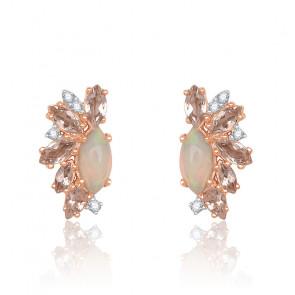 Pendientes Diamantes, Morganita y Oro Rosa 18K