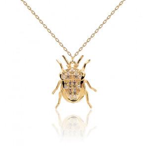Collar escarabajo suerte piedras semipreciosas y  chapado en oro 18k CO01-254-U