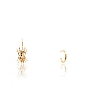 Pendientes escarabajo de fuerza piedras semipreciosas y chapado en oro 18k AR01-366-U