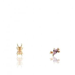 Pendientes escarabajo de coraje piedras semipreciosas y chapado en oro 18k AR01-368-U