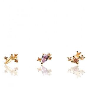 Juego de pendientes escarabajo serenidad piedras semipreciosas y chapado en oro 18k BU01-005-U
