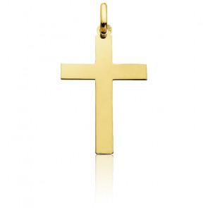 Cruz mediana Plana pulida Oro amarillo 15 x 22mm