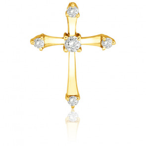 Cruz de Oro amarillo y Diamantes