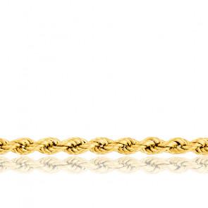 Cadena de cuerda hueca retorcida, oro amarillo de 18 quilates, longitud 45 cm