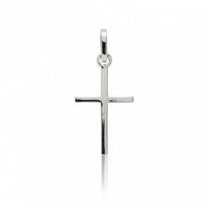 Cruz de perfil cuadrado, Plata 14 x 23 mm Oro Blanco 18 quilates