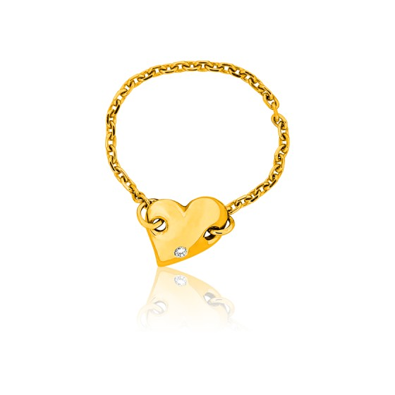 7b021c5ad29b Anillo Oro Amarillo Corazón y Cadena - Ocarat