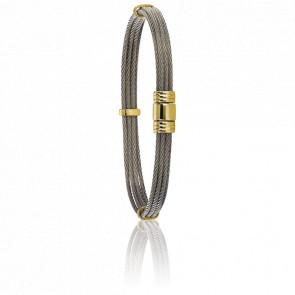 Pulsera de Cordones de Acero y Cierre de Oro Amarillo6 mm, Etai