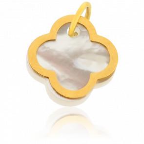 Colgante Pétalos Blancos Oro Amarillo y Nácar