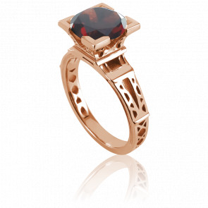 Anillo French Kiss Oro Rosa y Granate