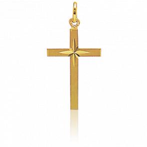 Cruz con Estrella Oro Amarillo 18 kt