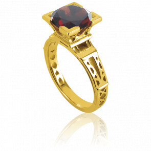 Anillo French Kiss Oro Amarillo y Granate