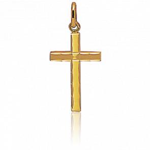 Cruz pequeña contorno facetado Oro amarillo
