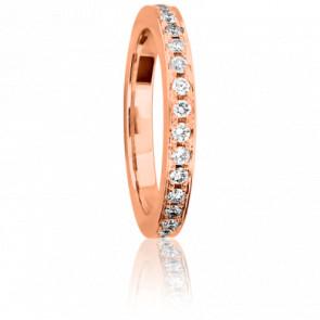 Alianza Plana Diamantes Blancos 0.50 kt y Oro Rosa