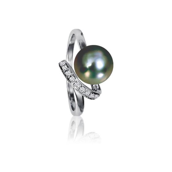 931bb5f8e579 Anillo Oro Blanco y Perla Tahití y Diamantes - Emanessence - Ocarat
