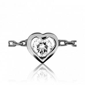 Pulsera Corazón y Diamante Oro Blanco