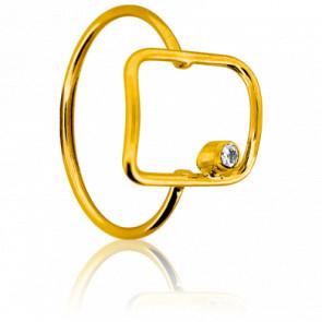 Anillo Cuerpo rectángulo Oro amarillo y Diamantes