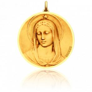 Medalla Virgen Maris Stella redonda con los bordes pulidos
