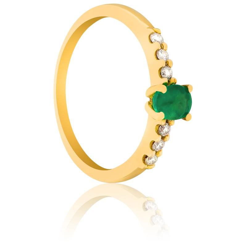 Anillo De Compromiso Esmeralda Oro Y Diamantes Ocarat